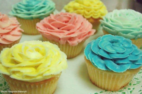 Cupcakes with pastel, flower-shaped frosting from magnolia bakery.