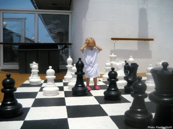 Giant chess can be fun on a cruise ship.