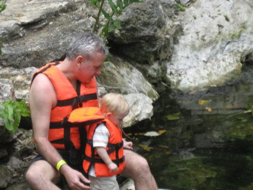 Exploring yucatan cenotes with a toddler