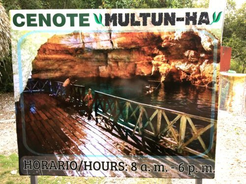 The sign for multin ha cenote