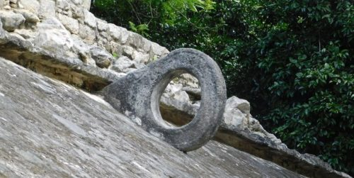 Detail from a maya ball court at coba
