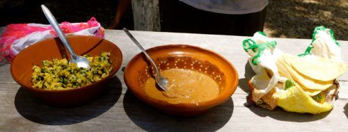 Sampling tortillas, eggs and salsa at a traditional mayan village in the yucatan