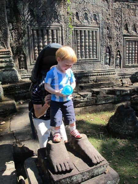Climbing on angkor's temples os ok. Preah khan is safe even for smaller tots like this one.