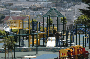 Alta plaza playground has a view of san francisco
