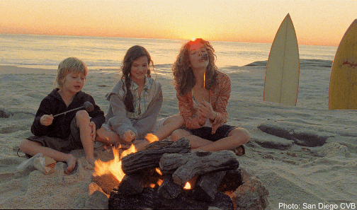 camp fire on a beach in San Diego