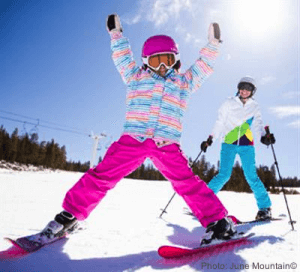 kids can ski free at June Mountain in California