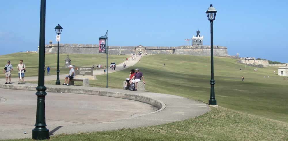 A plaza and the long walkway from it to el morro, in old san juan