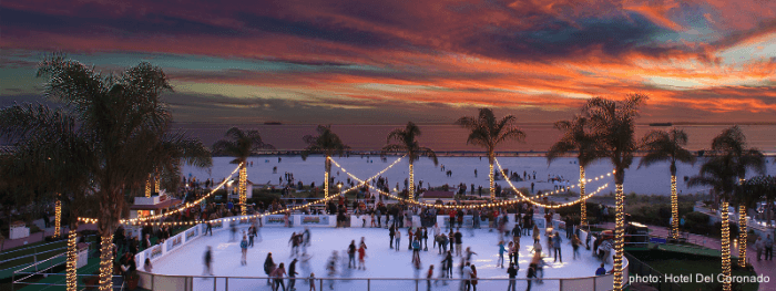 holiday ice skating beachside at the Hotel Del Coronado