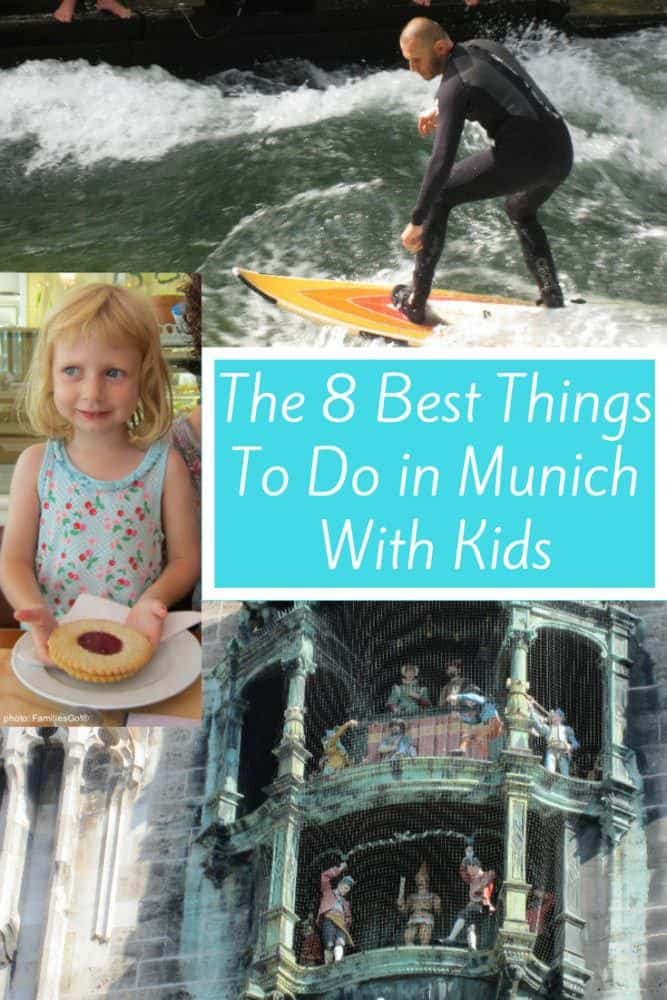 Munich, germany has many things to do and eat that will please kids and parents on a family vacation. Great desserts, surfers in the eisbock river and the huge glockenspiel are just a few of the things we loved. #munich #germany #kids #vacation #thingstodo #food