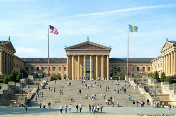 "The ""rocky"" stairs at the philadelphia museum of art"