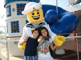 Lego mascot with a kid an MSC ship like the Divina