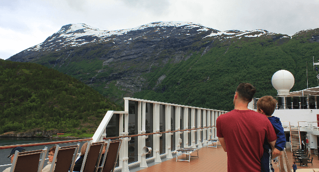 viewing fjords from the deck of MSC sinfonia on a Nordic Cruise