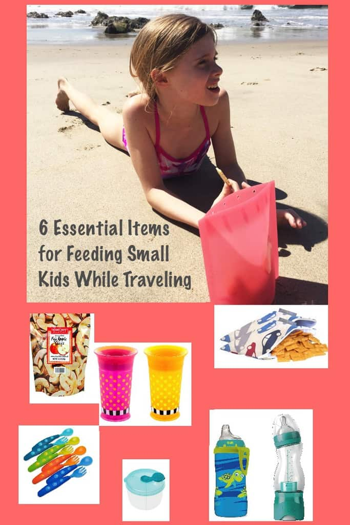 Feeding kids on vacation can be a challenge but having the right products with you makes it at least a little easier. Here are bottles, sippy cups, utensils, snack sacks and snacks that travel well. #vacation #eating #kids