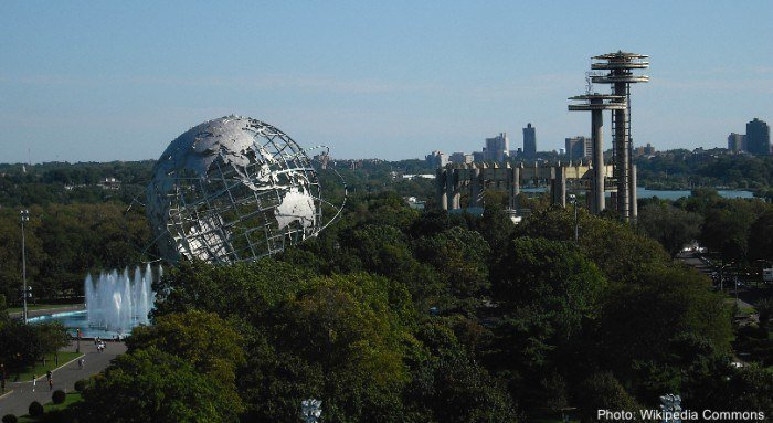 The world's fair globe in flushing meadow park in nyc