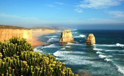 The great ocean road provides road cycling with a view