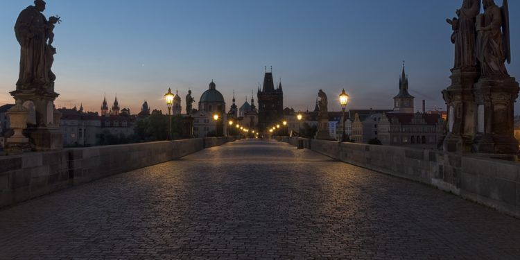 the stone bridge by night. Charles Bridge