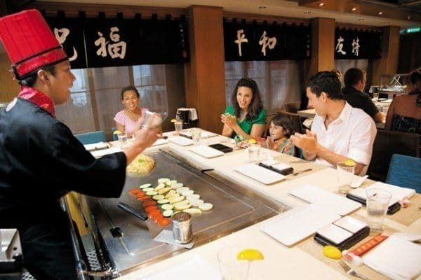 Dining options like ths japanese hibachi restaurant are optional add-ons for a family cruise