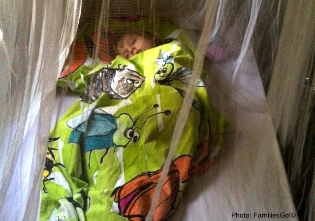 sleeping soundly under mosquito netting in senegal, west africa