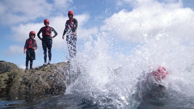 A family coasteering in wales