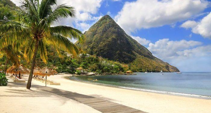 Sugar beach st. Lucia, in the caribbean