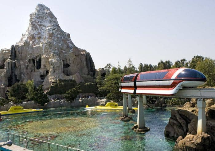 Nemo's submarine below the monorail and matterhorn