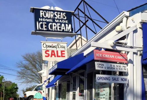 the Four Seas has a vintage sign and modern ice cream flavors