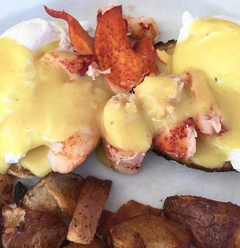lobster adds to the eggs benedict at the Dennis Port breakfast spot