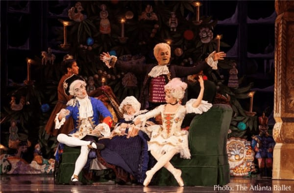 The nutcracker at the atlanta ballet features the classic drosselmeyer and his lifesize puppets.