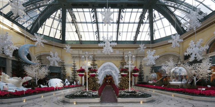 the Bellagio decks its halls in las Vegas