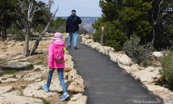 The rim trail is an accessible way to explore the grand canyon with kids.