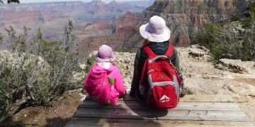 The rim trail is an easy and interesting walk with kids during a visit to the Grand Canyon