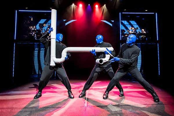 Blue man group likes to tinker with pipes