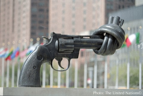 This famous knotted gun is in the sculprture garden of the u. N. Headquarters in nyc