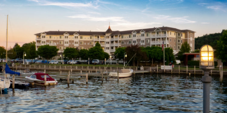 A view of the Watkins Glen Harbor Hotel from Seneca Lake.