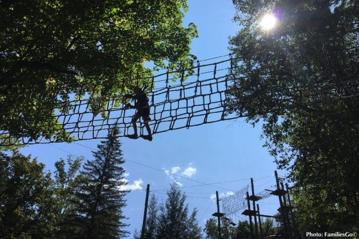 The aerial adventure park at jiminy peak is fun in the warm weather