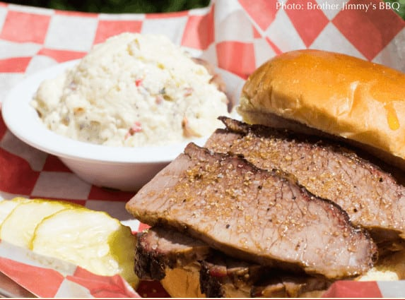 The brisket at brother jimmy's bbq