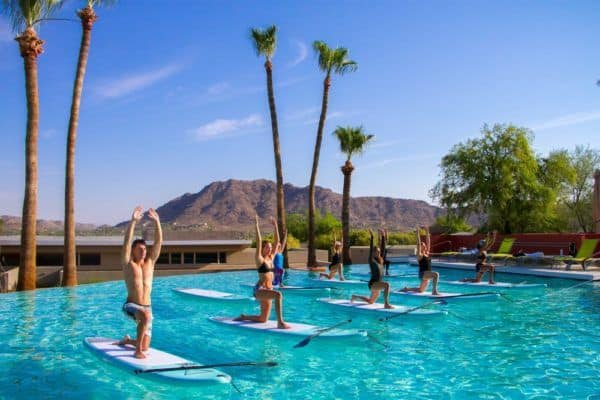 Wake up to do sup yoga instead of for your kids at camelback mountain resort