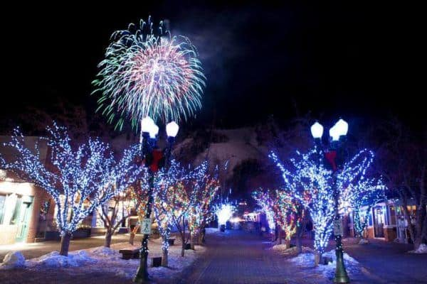 Fireworks light up aspen during its winter festival