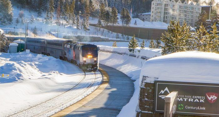 The ski train arrives as winter park
