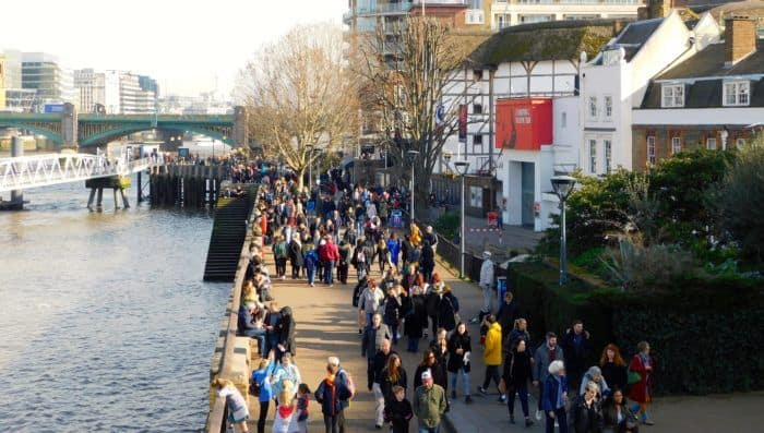 London's busy south bank on a sunny day
