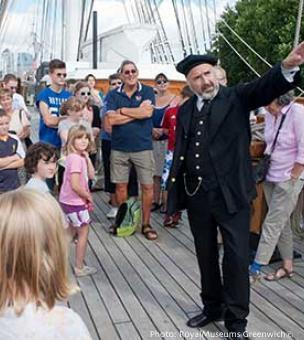 Get guided tours of the cutty sark from costumed actors