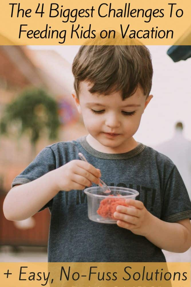 Keeping kids well fed is part of keeping them healthy on vacation. Here are tips for healthy snacks and making sure kids eat enough of the right foods to keep everyone happy and fit. #kids #travel #vacation #food #snacks #ideas