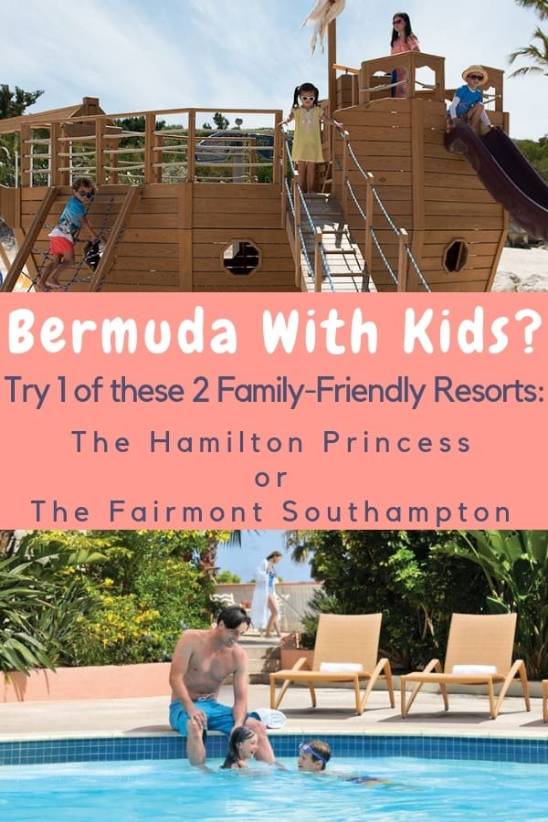 We review 2 bermuda resorts for families. We give the scoop on their beaches, restaurants and kid-friendly features. Decide which one your family would love. #bermuda #fairmontsouthampton #hamilton #princess #hotels #families