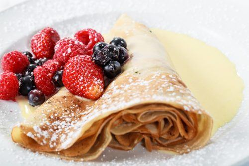 Breakfast crepes with chocolate and fruit in whistler village