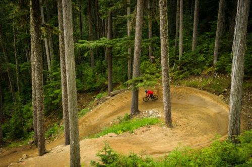 Mountain biking in the whistler bike park