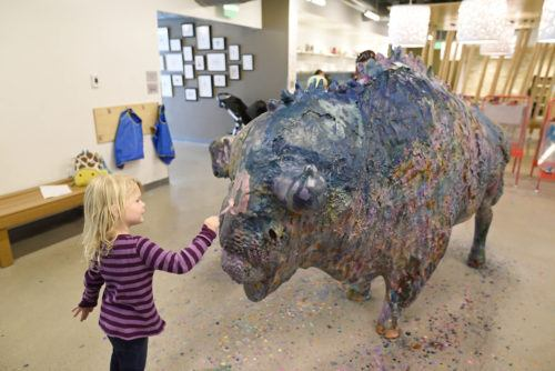 Art your own paint brush strokes to the buffalo at the denver childrens museum