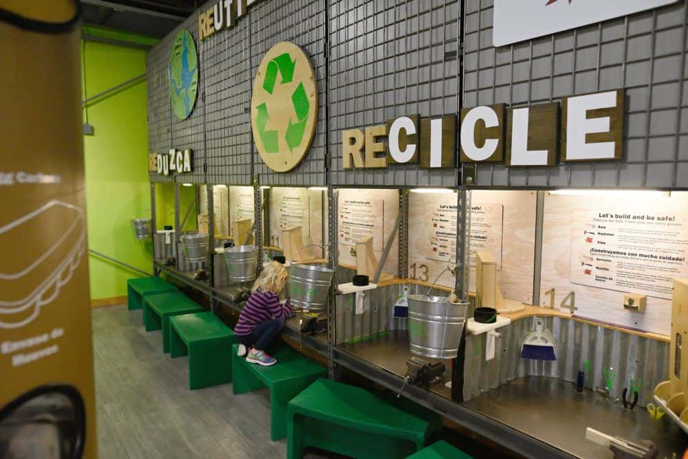 Reuse, recyle and upcycle in the stem rooms of the denver children's museum