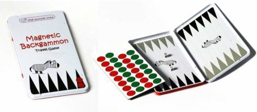 Backgammon is just one of several magnetic travel games made by Purple Cow.