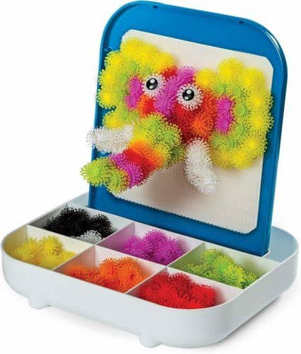Bunches are a soft building toy you can use on its own or with the stick-on easel that comes with this travel kit.