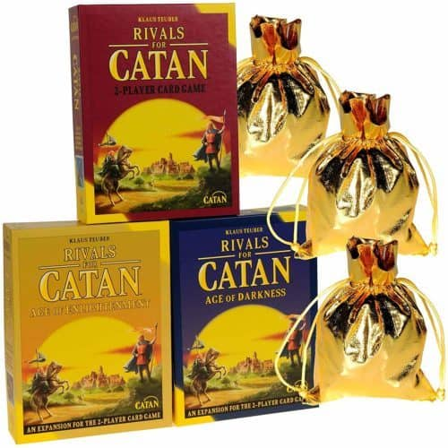 Rivals for catan is a card-game variation on settlers of catan. It comes with 2 expansion packs.